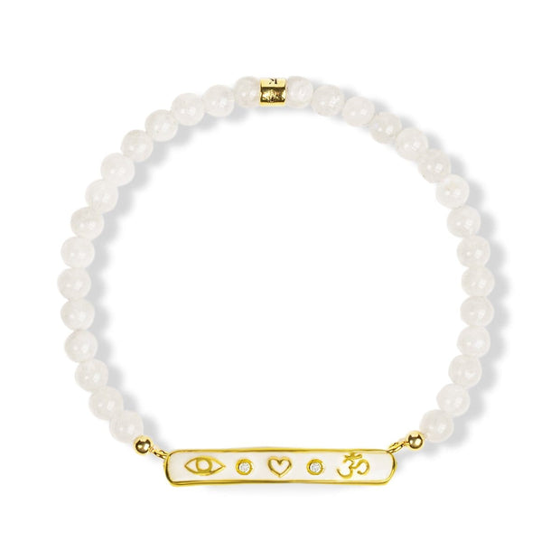 Messenger of Clarity - Gold Triple Protection Moonstone Bracelet