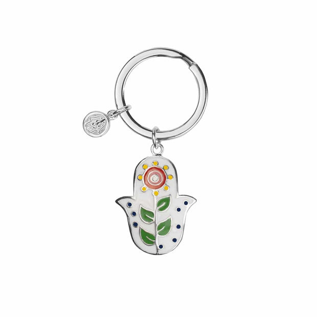 Playful Protection - White Enamel Daisy Hamsa Keychain