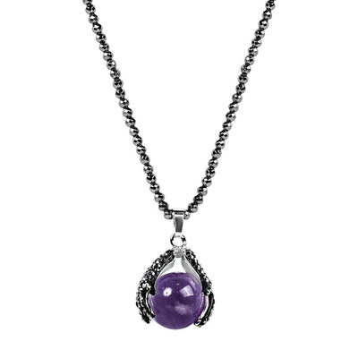 Awaken Intuition Hematite Amethyst Pendant Necklace