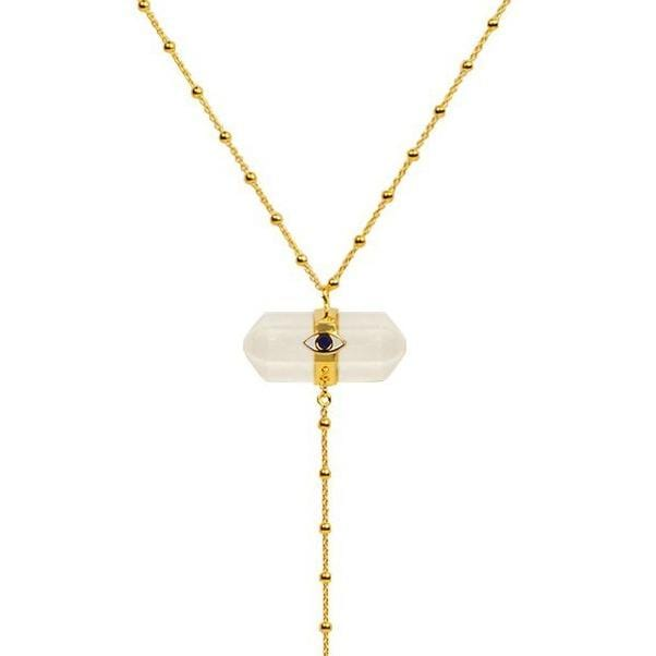 Soulful Substance - Gold Moonstone Evil Eye Double Pointer Necklace
