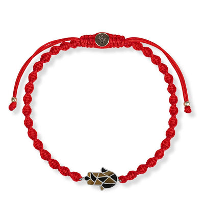 Courageous Perseverance Red String Hamsa Charm Bracelet