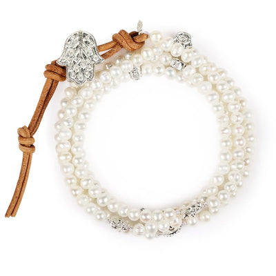 Bewitched by Love Pearl Multi Charm Wrap Bracelet