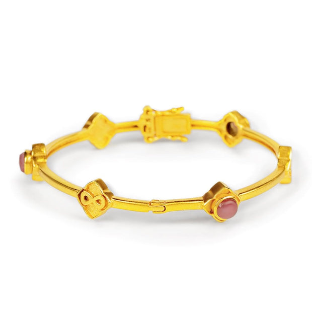 Infinite Love - Gold Plated Tourmaline Bangle Bracelet