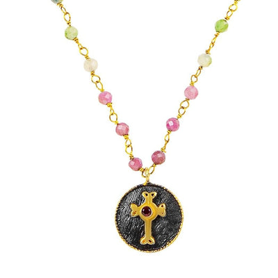 Guided by Faith - Gold Cross Watermelon Tourmaline Necklace