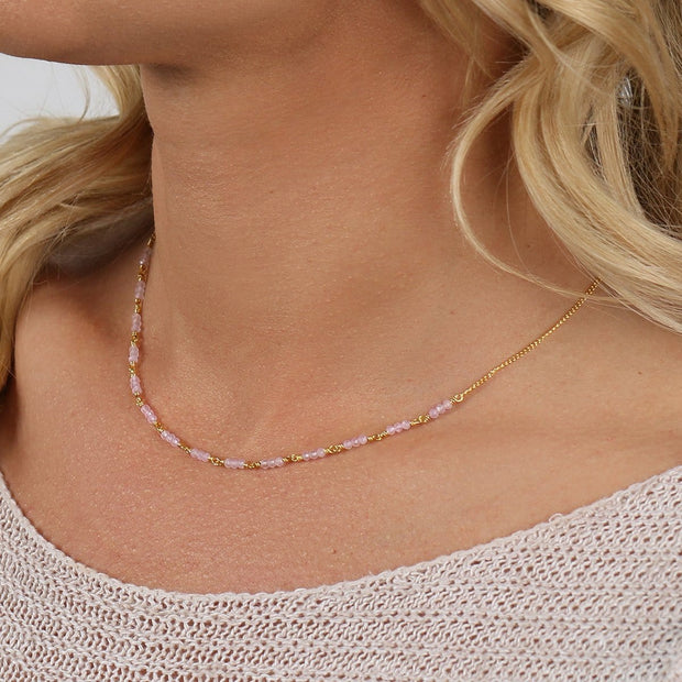 Journey to Love - Rose Quartz Gold Choker Necklace