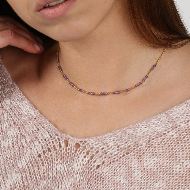 Anxiety Relief Amethyst Choker Necklace