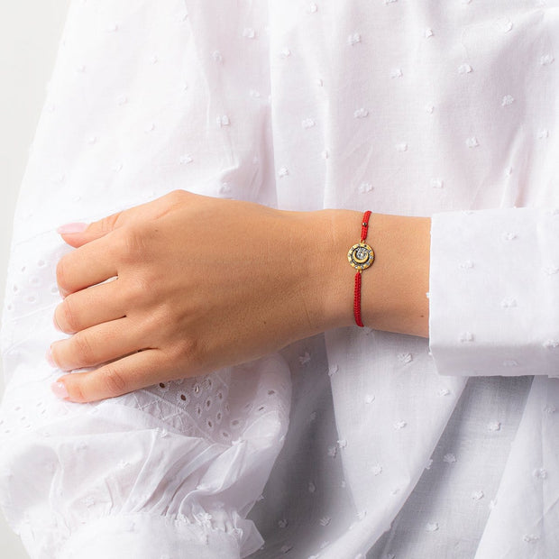 Lead by Intuition Red String Moon Charm Bracelet