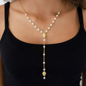 Sterling Silver GP Moonstone Evil Eye Rosary