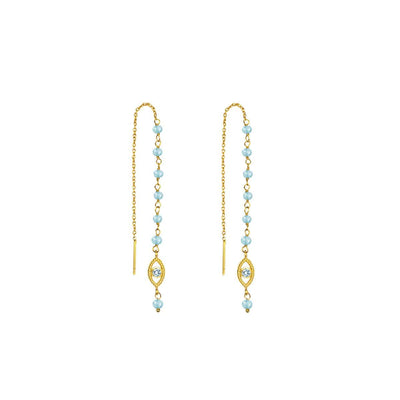 karma and luck - Flowing Frequency - Aquamarine Evil Eye Earrings - buy now