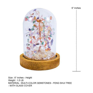 Feng Shui Multi-Color Copper Tree with Glass Cover 6""