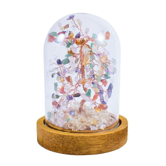 6 Inch Feng Shui Multi-Color Copper Tree with Glass Cover - Karma and Luck | Buy Online