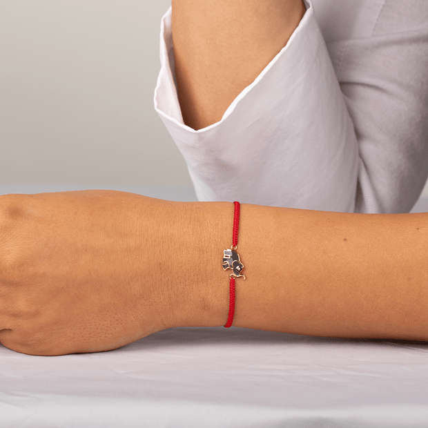 Wise Future Red String Elephant Charm Bracelet