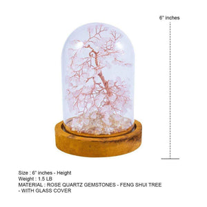 Feng Shui Rose Quartz Copper Tree with Glass Cover 6""