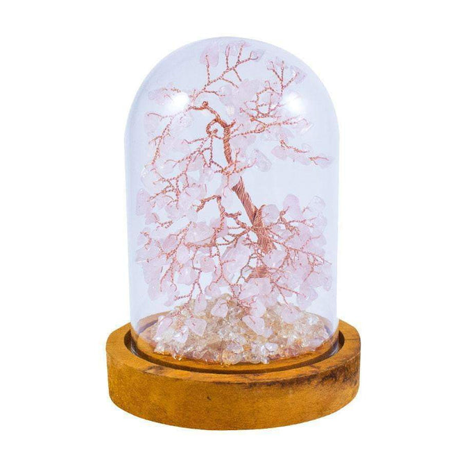 6 Inch Feng Shui Rose Quartz Copper Tree with Glass Cover - Karma and Luck | Buy Online