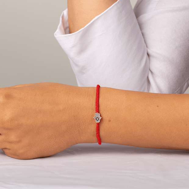 Blessed Insight Red String Turquoise Hamsa Bracelet