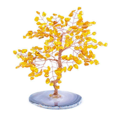 Feng Shui Small Amber Copper Tree with Agate Slice 5