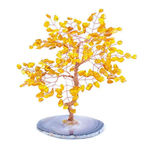 "Feng Shui Small Amber Copper Tree with Agate Slice 5"" - Karma and Luck 