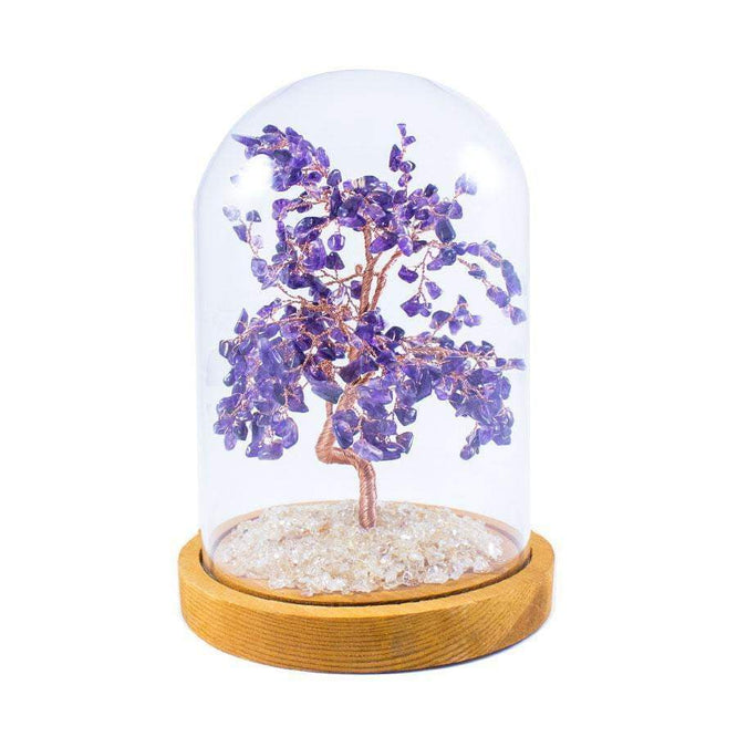 8 Inch Feng Shui Amethyst Copper Tree with Glass Cover - Karma and Luck | Buy Online