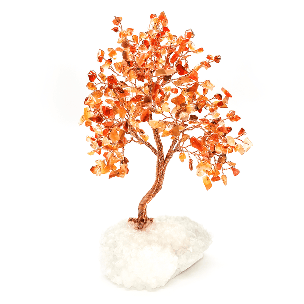 Carnelian Copper Tree on Crystal Base - Karma and Luck | Buy Online