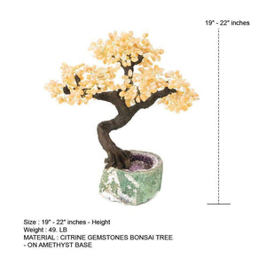 "Citrine Gemstone Bonsai Tree with Amethyst Base 19"" - 22"""