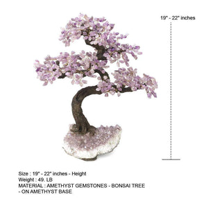 "Amethyst Gemstone Bonsai Tree with Amethyst Base 19"" - 22"""