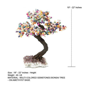 "Multi Colored Gemstone Stone Bonsai Tree with Amethyst Base 19"" - 22"""