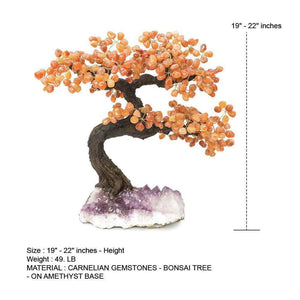 "Carnelian Gemstone Bonsai Tree  19"" - 22"""