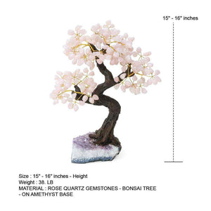 "Bonsai Rose Quartz Tree with Amethyst Base 15""-16"""