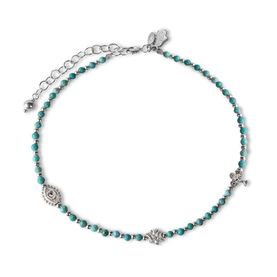 Blessed Trinity - Turquoise Stone Silver Anklet