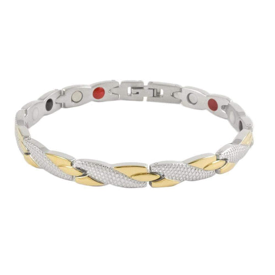 Stainless Steel Ion Gold & Crystal Bracelet - Karma and Luck | Buy Online