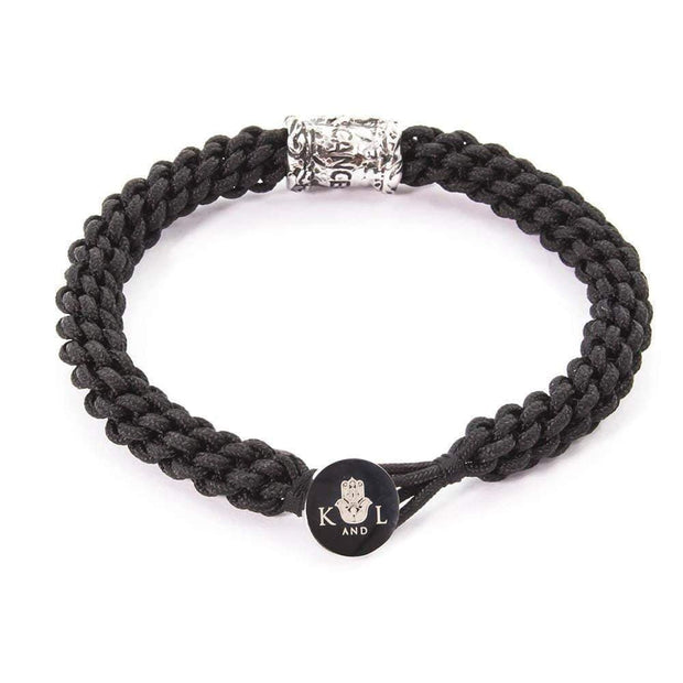 Zodiac Cancer Black Braided Cord Macrame Bracelet
