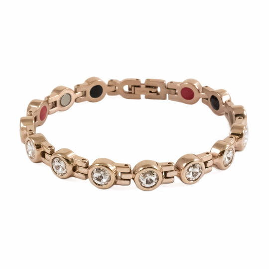 Stainless Steel Ion Rose Gold Tone Crystal Bracelet - Karma and Luck | Buy Online