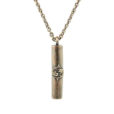 Antique Bronze Handmade Pisces Tube Necklace - Karma and Luck | Buy Online