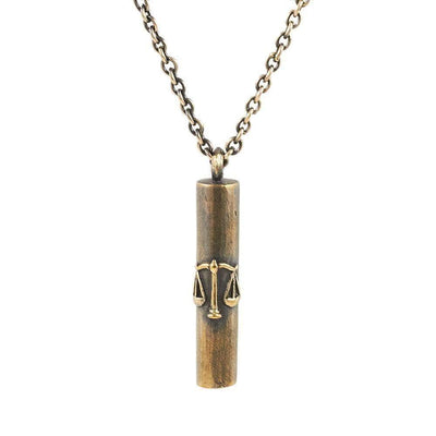 Antique Bronze Hand Made Libra Tube Necklace - Karma and Luck | Buy Online