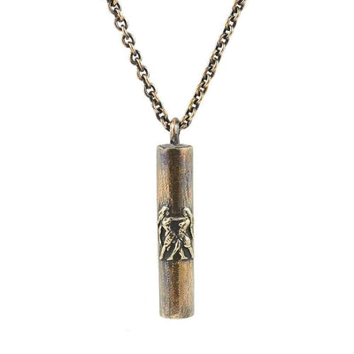 Antique Bronze Handmade Gemini Tube Necklace - Karma and Luck | Buy Online