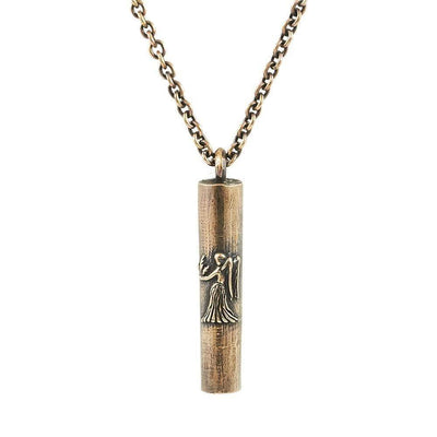 Antique Bronze Handmade Virgo Tube Necklace - Karma and Luck | Buy Online