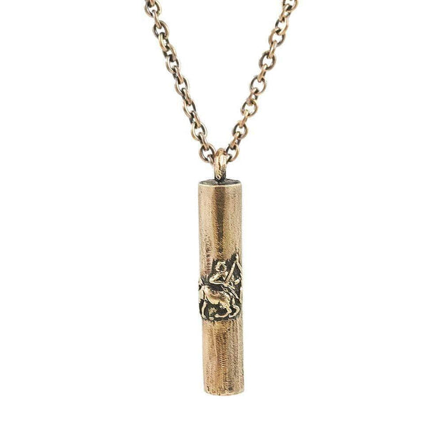 Antique Bronze Handmade Sagittarius Tube Necklace - Karma and Luck | Buy Online