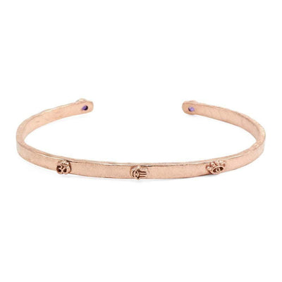 Sterling Silver Rose Gold 3 Symbols Cuff