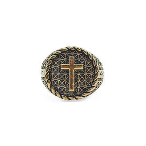 Antique Bronze Cross Ring