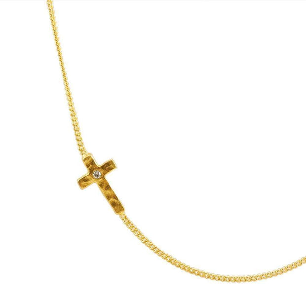 Sterling Silver GP Side Cross Necklace