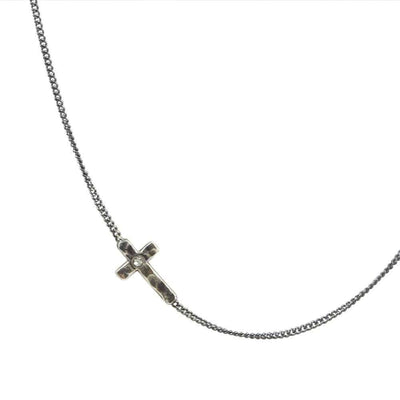Sterling Silver Gunmetal Side Cross Necklace