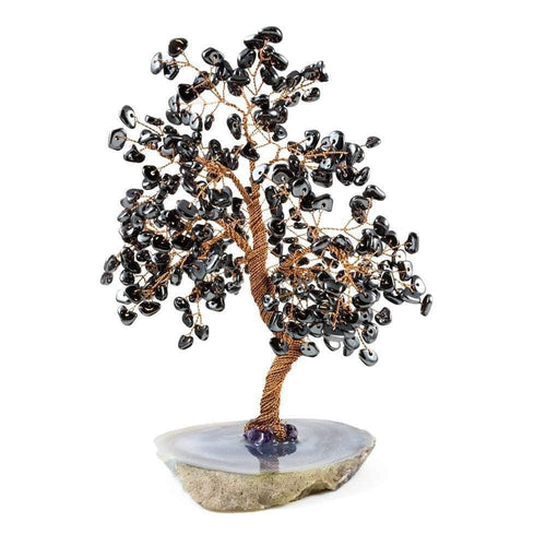 Feng Shui Gemstone Hematite Copper Tree on Geode Base 10
