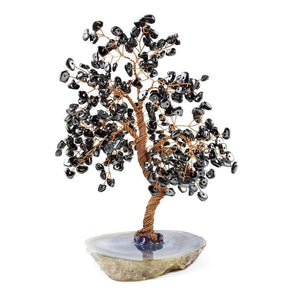Feng Shui Gemstone Hematite Copper Tree on Geode Base 10""