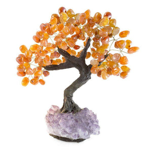 "Carnelian Gemstone Bonsai Tree with Amethyst Base 15""-16"""