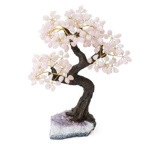 "Rose Quartz Bonsai Tree with Amethyst Base 15""-16"""