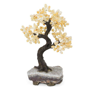 "Citrine Gemstone Bonsai Tree with Amethyst Base 15""-16"""