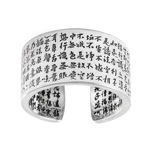 Spiritual Sutra Blessing with Lotus Sterling Silver Ring