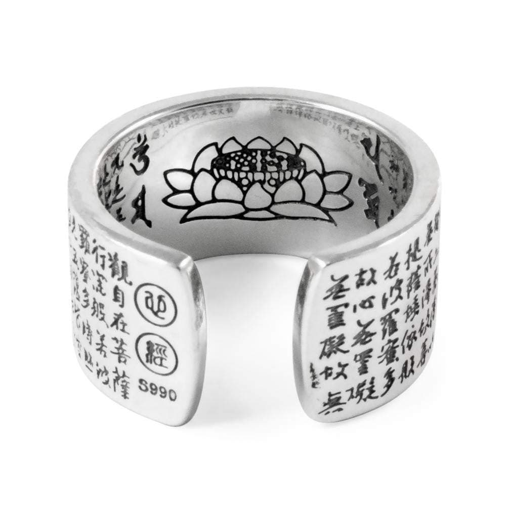 Spiritual Sutra Blessing with Lotus Sterling Silver Ring – Karma and ...