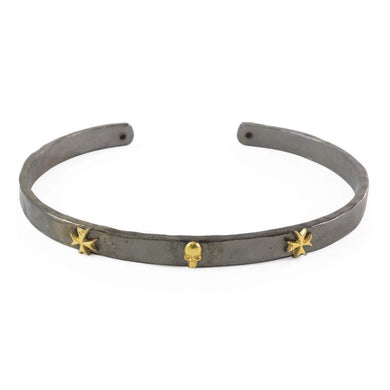 Sterling Silver Black with Gold Symbols Maltese Cross and Skull Cuff