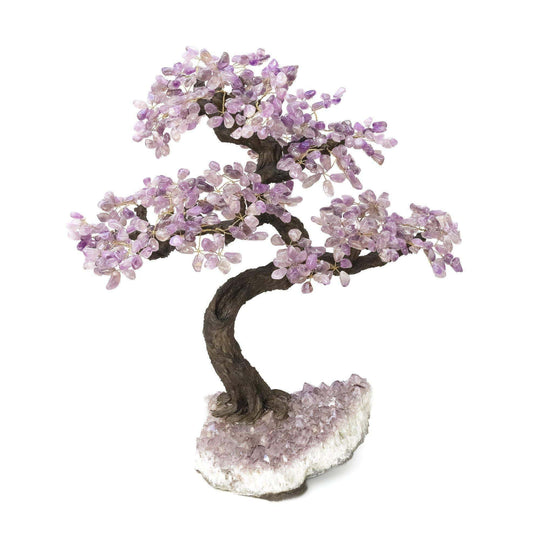 "Amethyst  Bonsai Tree with Amethyst Base 19"" - 22"" - Karma and Luck 